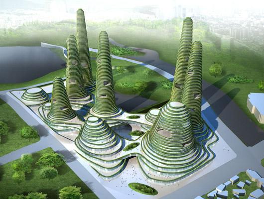 Green skyscrapers conscious inspiration someone has for Mountain designs garden city
