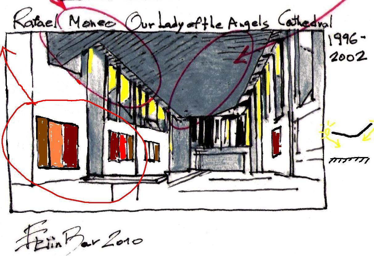 rafael moneo lady of the angels cathedral eliinbar sketches