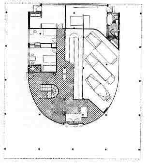 Villa Savoye on elevation plan