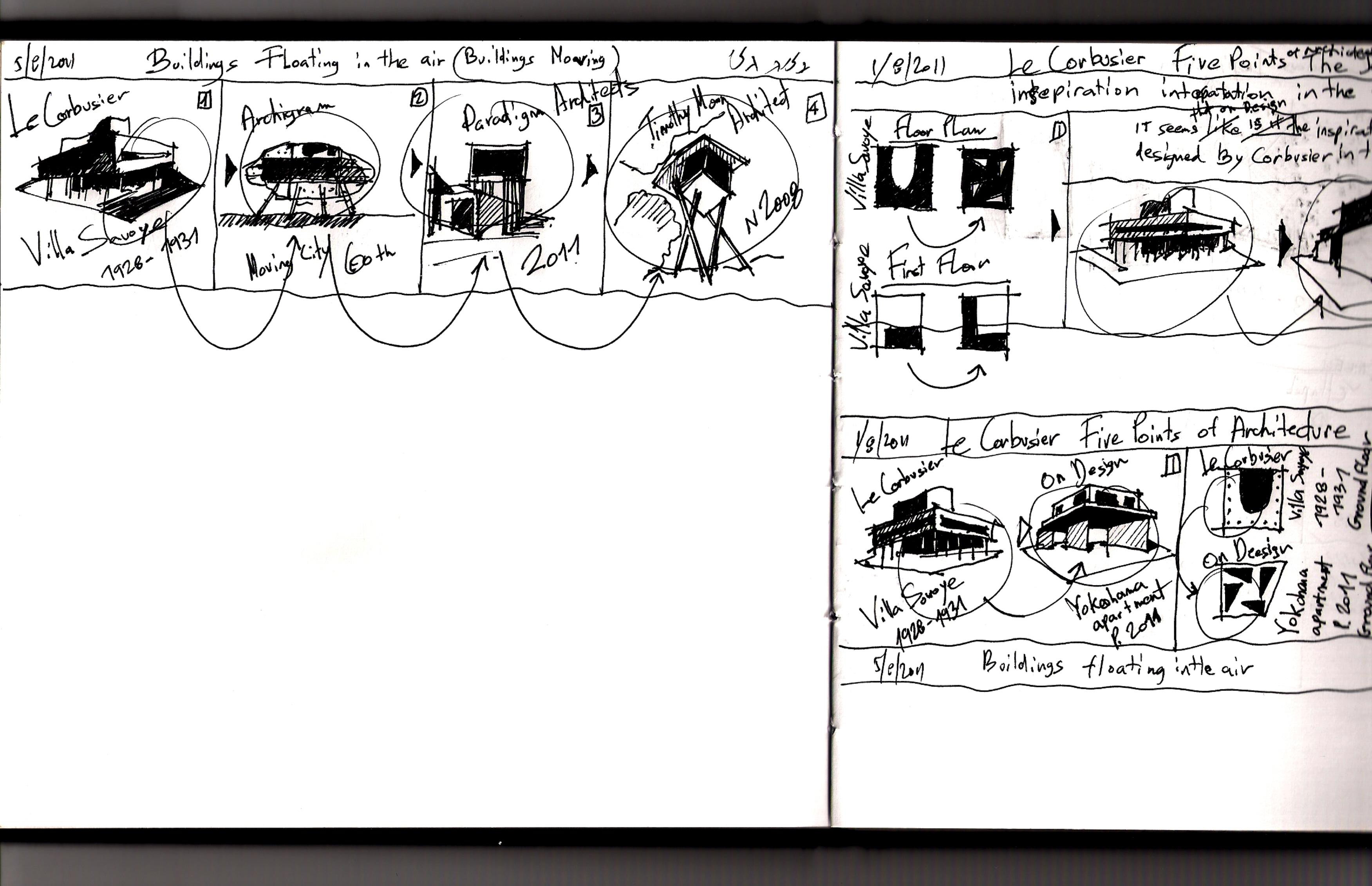 "Le Corbusier Les 5 Points le corbusier & archigram – ""buildings floating in the air"