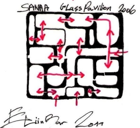 eliinbar Sketches 2011 -sanaa's Glass Pavilion ground- plan