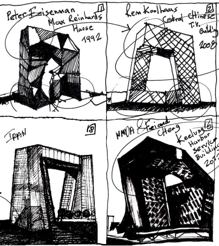From Eliinbar's sketchbook 2012 - morphological resembles to OMA's Central Chinese TV Building