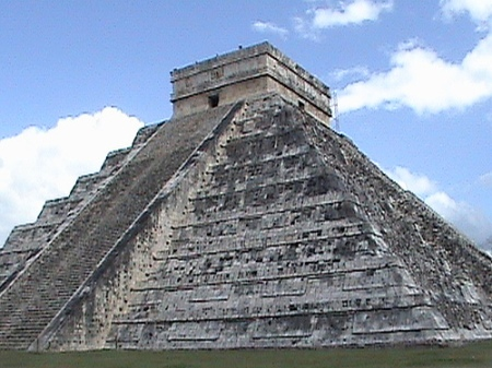 Pyramid  El Castillo in Chichen Itzan  Mexico was built between 9th and 12th centuries by the pre-Colombian Maya ,and is designed to allow the public to get on it….