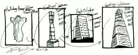 """Eliinbar's sketch 2013-Frank Gehry and Santiago Calatrava practicing """"Conscious Inspiration"""""""