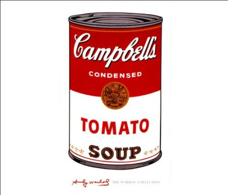 The next image is One of 32 Campbell's soup cans Andy Warhol produced in 1961 for his breakthrough exhibition in 1962.