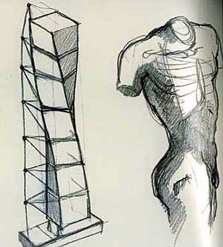 Santiago Calatrava's sketch showing how he got inspired from Halliday Avray-Wilson , Twisting Male  Torso Sculpture (right), when he designed the HSB Turning Torso in Malmo Sweden (left)