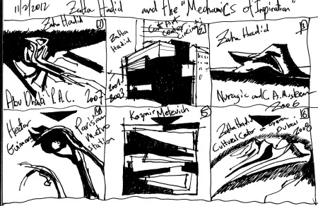 "From  Eliinbar's sketchbook 2012  Zaha Hadid-""Mechanics of Inspiration"""