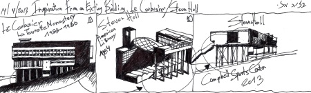 "Eliinbar Sketchbook 2012 –Is Le Corbusier's  La Tourette Monastery,Steven Holl's ""Inspiration building""?"