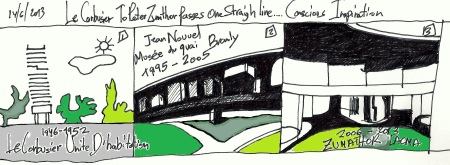 "From eliinbar's sketchbook 2013- Le Corbusier to Peter Zumthor  passes one straight line….""Conscious Inspiration"""