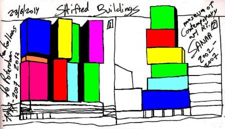 Eliinbar's Sketchbook 2014 ,Rem Koolhaas and SANAA Typology of a Shifted Buildings