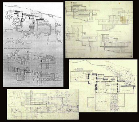 "Frank Loyd  Whrite's ""Falling Water""  Plans, sections and elevations"