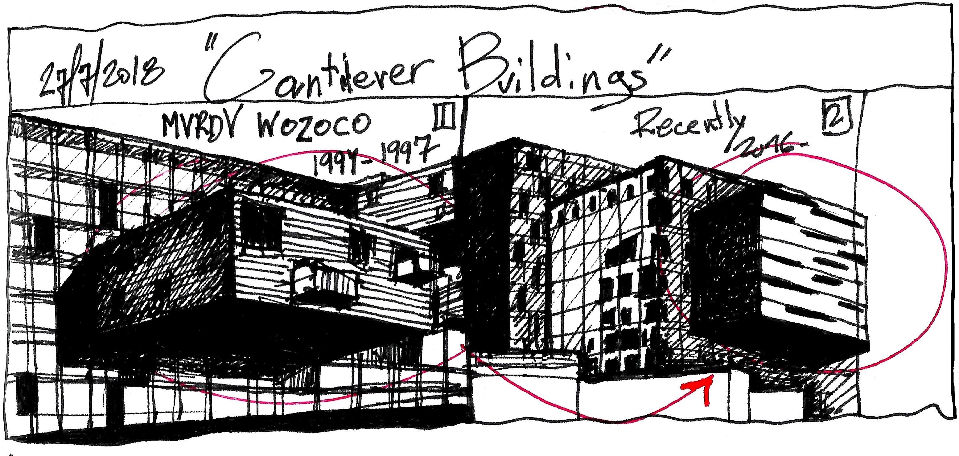 Eliinbar Sketches Cantilever Buildings
