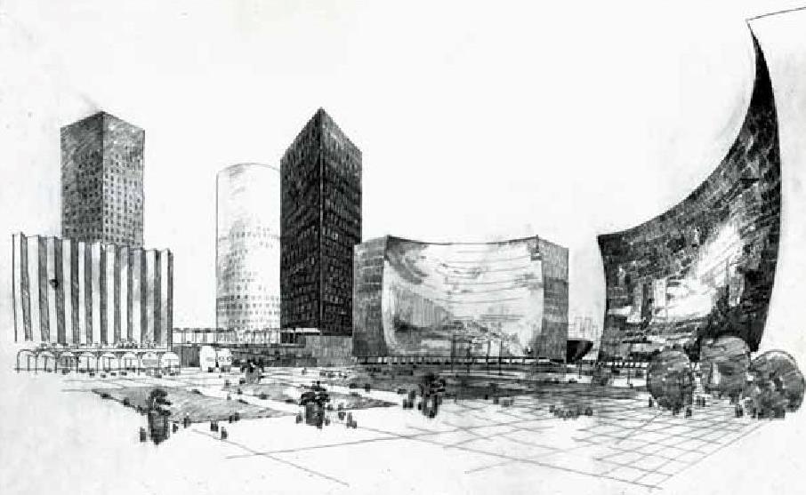 Emile Aillaud three towers in La Defense 1972