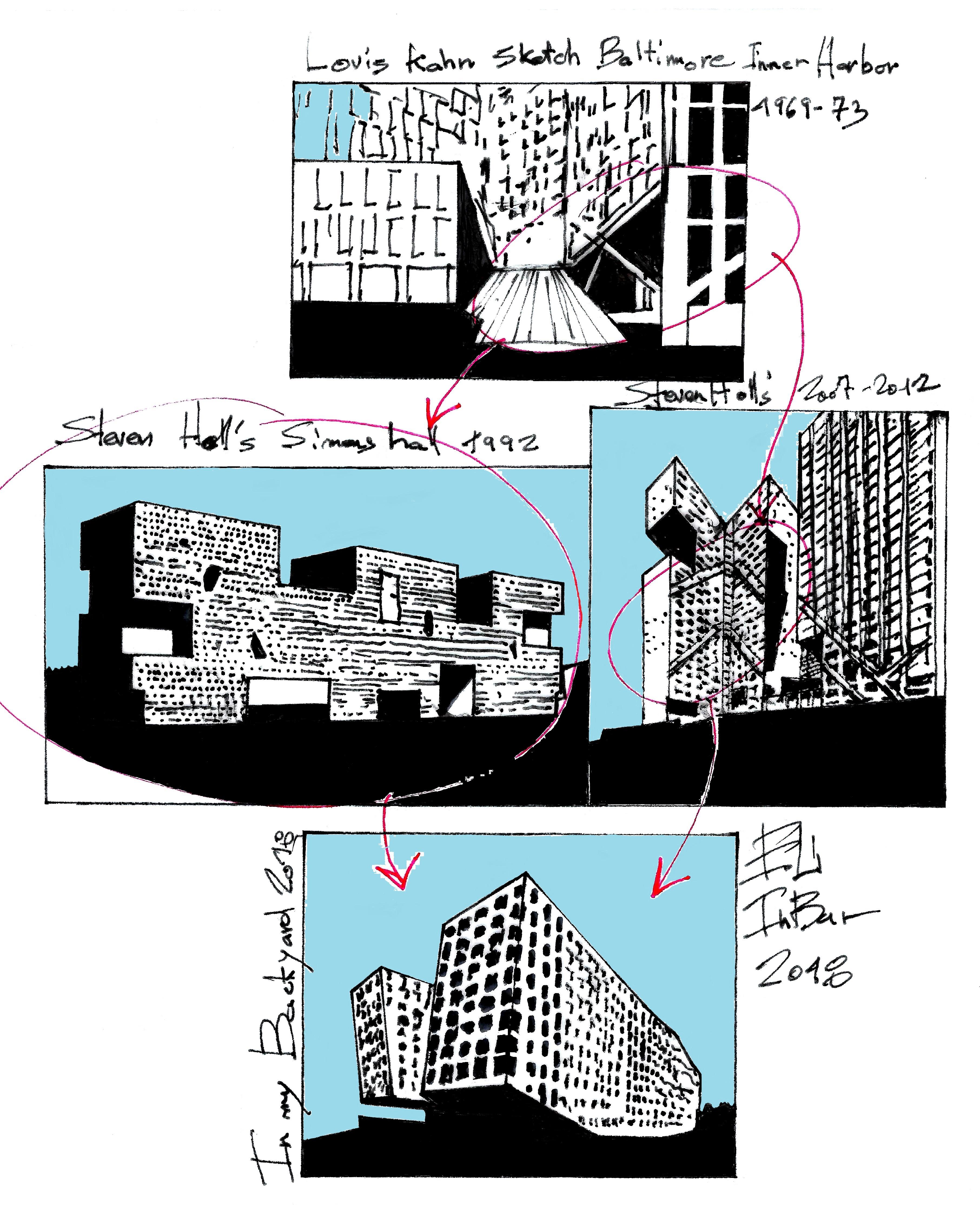 Eliinbar Sketches Steven Holl Luis Kahn - עותק